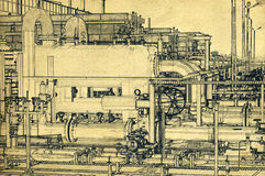 Benzynowy magazyn i rurociąg - kreskowego rysunku efect Zdjęcia Royalty Free