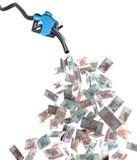 Benzynowy nozzle z rubli banknotami Obrazy Stock
