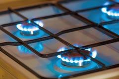 Benzynowy palenie od kuchennej benzynowej kuchenki Obrazy Stock
