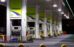 Benzyny benzynowa stacja z nocy światłami Obrazy Royalty Free