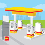 Benzyny Benzynowej staci tło Dekoruje projekt kreskówki wektor ilustracji