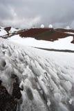 Beobachtungsgremien und Schnee Stockfotos
