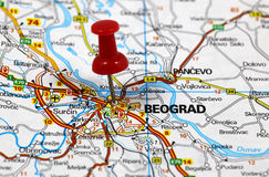 Beograd. Map with pin point of beograd in serbia stock images