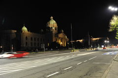 Beograd. View in night Beograd walk by streets stock images