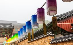 Row of beautiful paper lanterns. The festival is a celebration the birth of Buddha in Temple Beomeosa, Busan, South Korea royalty free stock photography