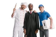 beoordeel chef-kok en koerier geïsoleerd stock afbeelding