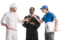 beoordeel chef-kok en koerier geïsoleerd royalty-vrije stock foto's