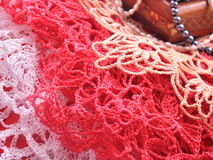 Beoutiful Crochet Lace. Close-up of Crocheting Pattern Royalty Free Stock Photos