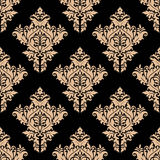 Beżowy i czarny bezszwowy kwiecisty wzór Fotografia Stock