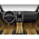 Beżowy rzemienny samochodowy wnętrze - inside ciężarówka, deska rozdzielcza Fotografia Royalty Free