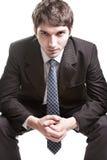 Bepaalde jonge zakenman over wit stock afbeelding