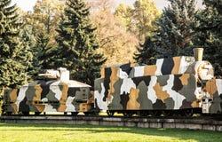 Bepansrat drev Hurban i Zvolen, Slovakien, minnesmärke för världskrig II Royaltyfri Foto