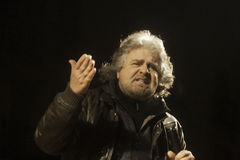 Beppe Grillo, during an election rally. Stock Photos