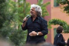 Beppe Grillo habla en Bolonia M5S Imagen de archivo libre de regalías