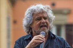 Beppe Grillo habla en Bolonia M5S Foto de archivo libre de regalías
