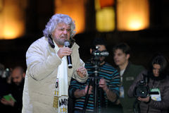 Beppe Grillo i Milan - Februari 2013 Royaltyfria Bilder