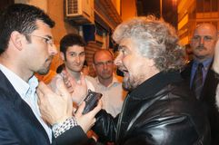 Beppe Grillo movement five stars royalty free stock image