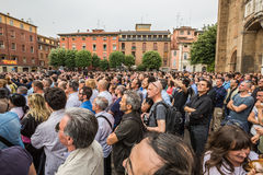 Beppe Grillo. Speak in Bologna (Italy) 10 May 2014 in Piazza San Francesco Movimento 5 Stelle M5S stock photo
