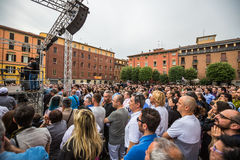 Beppe Grillo M5S. Beppe Grillo speak in Bologna (Italy) 10 May 2014 in Piazza San Francesco Movimento 5 Stelle M5S stock image