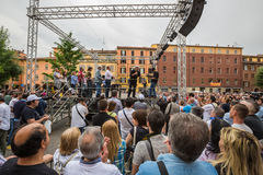 Beppe Grillo. Speak in Bologna (Italy) 10 May 2014 in Piazza San Francesco Movimento 5 Stelle M5S stock photos