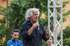 Beppe Grillo speak in Bologna M5S Stock Photography