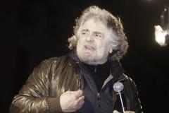 Beppe Grillo, tijdens een verkiezingsverzameling Stock Fotografie