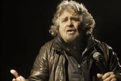 Beppe Grillo under ett val samlar Royaltyfri Foto