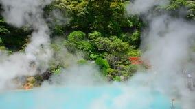 Cobalt blue hell pond of Kamado Jigoku, Japanese hot springs is the famous natural hot springs in Beppu