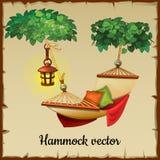 Bequeme Hängematte, Baum und Straßenlaterne vektor abbildung