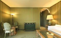 bequeme Suite, Aufenthaltsraum bis zum Nacht lizenzfreie stockbilder