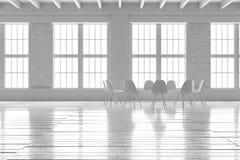 Bequeme weiße Halle Innen, minimalistic Dachbodenmodell Stockfotografie