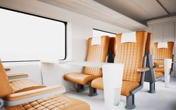 Bequemer moderner orange Farbledersessel innerhalb des Business-Class-Kabinen-schnelle Geschwindigkeits-Zugs Leeres weißes Fenste Stockbild