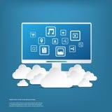 Beräknande affärsidé för moln med datoren och stock illustrationer