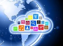 Beräknande begrepp för moln för affärspresentationer Arkivbild