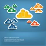 Beräknande begrepp för moln med design för lägenhet för rengöringsduksymbolsuppsättning royaltyfri illustrationer