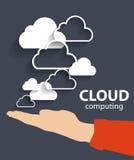 Beräknande begrepp för moln på olika elektroniska apparater. Vektor stock illustrationer