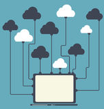 Beräknande begrepp för moln på olika elektroniska apparater. Vektor Royaltyfria Bilder