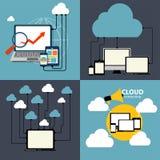 Beräknande begrepp för moln på olika elektroniska apparater. Vektor Arkivbild