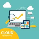 Beräknande begrepp för moln på olikt elektroniskt Arkivbild