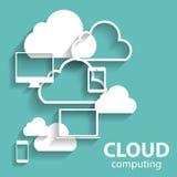 Beräknande begrepp för moln på olikt elektroniskt stock illustrationer