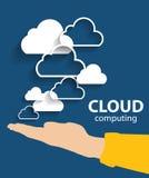 Beräknande begrepp för moln på olikt elektroniskt royaltyfri illustrationer