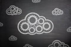 Beräknande begrepp för moln på svart tavla Royaltyfria Bilder