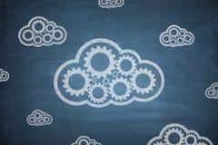 Beräknande begrepp för moln på svart tavla Arkivbild