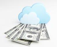 Beräknande begrepp för moln, pengar Arkivfoton