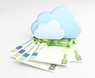 Beräknande begrepp för moln, pengar Arkivbild