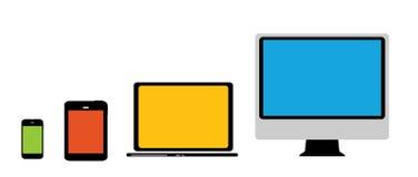 Beräknande begrepp på olika elektroniska apparater. Royaltyfri Foto