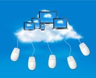 Beräknande begreppsbakgrund för moln med mouses. Ve Fotografering för Bildbyråer
