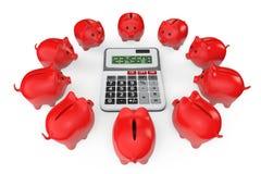 Beräknande besparingbegrepp. Spargrisar med räknemaskinen Arkivbilder