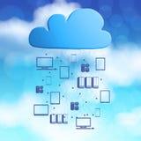 beräknande diagramsymbol för moln 3d på blå himmel Royaltyfri Fotografi