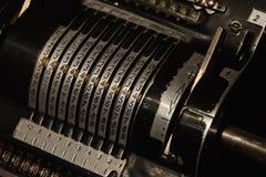Beräknande maskin för mekanisk räknemaskin Arkivbilder